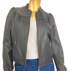 DOMA CROPPED 100% LEATHER JACKET SIZE M